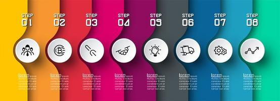 infográfico colorido camada curva com ícones em círculos vetor