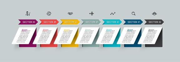 seta colorida e infográfico plano de papel vetor