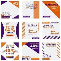 conjunto de post de mídia social de venda laranja e roxo