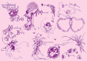 Desenhos de casamento vetor