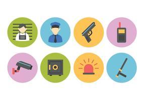 Conjunto de ícones planos de polícia e crime grátis vetor