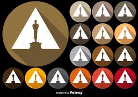 Botões coloridos do vetor com ícone da estatueta de Oscar
