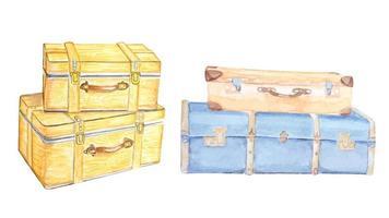 pintura em aquarela vintage de bagagem