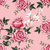 rosa orquídea rosa vermelha flores vetor