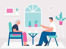 jovem assistente social masculino beber café com mulher sênior vetor