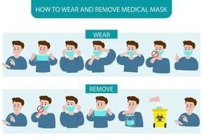 como usar e remover a máscara, passo a passo, pôster vetor