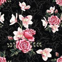 flores rosas em abstrato preto vetor