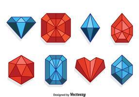 Conjunto de coleção de gemas vermelhas e azuis vetor
