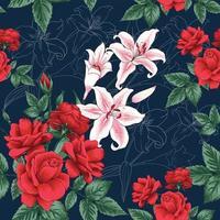 lindas flores sobre fundo azul vetor