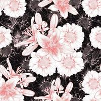 flores vintage lilly e zinnia vetor