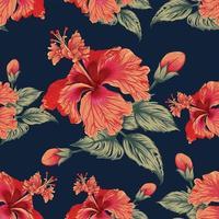 padrão de flores de hibisco vetor