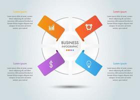 modelo de infográfico de 4 etapas de negócios