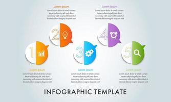modelo de infográfico de 5 etapas de negócios