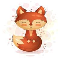 raposa bonito dos desenhos animados vetor