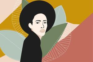 mulher com cabelo afro preto vetor