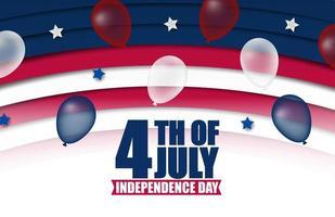 4 de julho banner com listras curvas e balões vetor