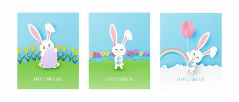 cartões de Páscoa de arte de papel com coelho fazendo atividades diferentes