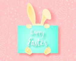 coelho de arte papel escondido atrás de cartão de feliz páscoa