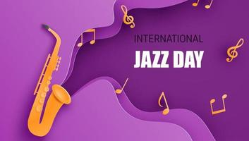 cartaz de dia de jazz de estilo de arte de papel com saxofone vetor