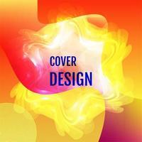 design de capa aurora gradiente vermelho amarelo forma embaçada vetor