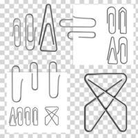 conjunto de papel branco nota com clipes metálicos vetor