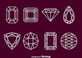 Ícones de esboço de pedra gemas vetor