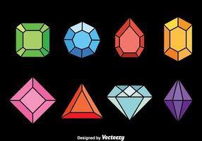 Conjunto de vetores de gemas coloridas