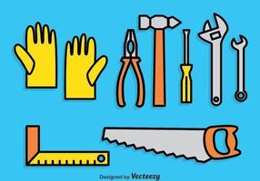 Conjunto de ícones dos desenhos animados das ferramentas de trabalho vetor