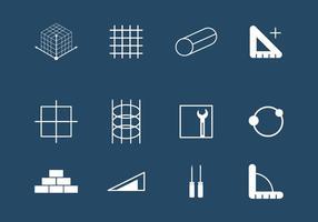 Conjunto de ícones de construção do Rebar vetor