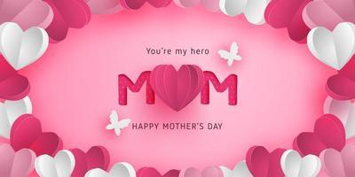 cartaz do dia das mães com moldura de corações de arte em papel