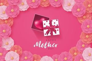 cartaz do dia das mães com moldura de presente e flor de coração