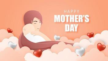 cartaz do dia das mães com a mãe, abraçando o bebê nas nuvens vetor