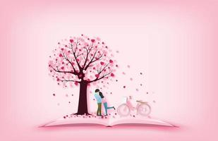 amantes da arte de papel no livro abraçando debaixo da árvore do coração vetor