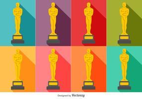 Conjunto colorido do vetor dos ícones da estátua de Oscar