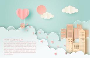 balão de ar quente de arte em papel flutuando sobre a cidade vetor