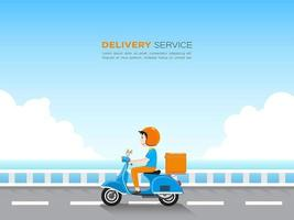 entregador, montando scooter na estrada pelo mar azul vetor