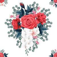 rosa vermelha e orquídea mão desenhada sem costura padrão vetor