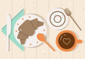 Ilustração plana livre do vetor do pequeno almoço