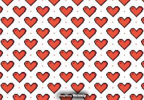 Padrão vetorial com corações pixelados vetor