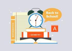 Ilustração gratuita de livros de volta para escola vetor