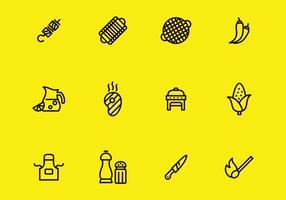 Conjunto de ícones de churrasco vetor