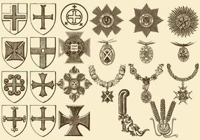 Cruzes e Medalhas Vintage vetor