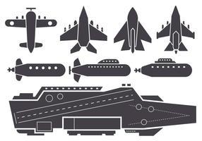 Free Silhouette AIrcraft Carrier e Jet Aircraft Vector