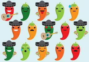 Emoticons do Mariachi do pimenta vetor