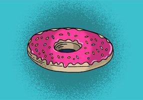 Donut com glacé rosa e polvilha vetor