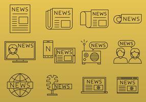 Ícones da linha de notícias vetor