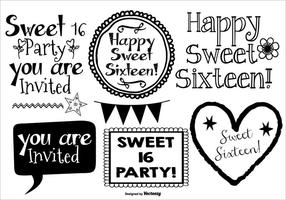 Cute sweet 16 drawn lables vetor