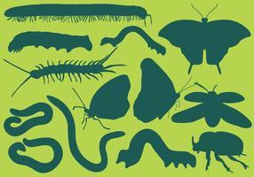 Silhuetas de insetos vetor