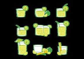 Ícones de cocktail Caipirinha vetor
