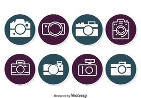 Ícones do círculo da câmera vetor